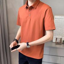 T-shirt Youth fashion 1225 orange 1225 blue 1225 brick red 1225 white 1225 black thin 4XL M L XL 2XL 3XL First tone Short sleeve Lapel easy motion summer 1225-2 Cotton 96.7% polyurethane elastic fiber (spandex) 3.3% routine tide Summer 2021 cotton No iron treatment Pure e-commerce (online only)