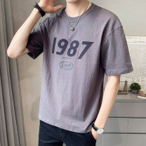 T-shirt Youth fashion 1233 white 1233 gray 1233 black thin 4XL M L XL 2XL 3XL First tone Short sleeve Crew neck easy daily summer 1233-2 Cotton 100% routine tide Summer 2021 cotton No iron treatment Pure e-commerce (online only) More than 95%