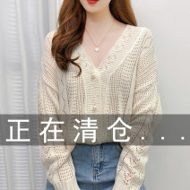 Wool knitwear Autumn 2020 Average size Apricot black white Long sleeves singleton  Cardigan other More than 95% Regular Thin money commute easy V-neck routine Solid color Korean version Godzilla Hollow button Other 100% Pure e-commerce (online only)