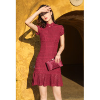 cheongsam Spring 2020 M L XL XXL 3XL [Jiuhong 2042-m] Lingge fishtail lace Short sleeve Short cheongsam Retro No slits daily Round lapel Solid color 25-35 years old HCY20036 Red clothes other Other 100% Exclusive payment of tmall