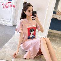 Nightdress Xuan Mengni CSH-2867CSH-2868 160(M)165(L)170(XL)175(XXL) Sweet Short sleeve Leisure home Middle-skirt summer Cartoon animation youth cotton