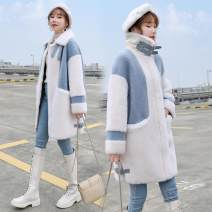woolen coat Spring 2021 S 105 kg, m 106-120 kg, l 121-135 kg, XL 136-145 kg, 2XL 146-160 kg Sky blue [high quality version thickening] and warm yellow [high quality version thickening] other 81% (inclusive) - 90% (inclusive) routine Long sleeves commute zipper routine stand collar Meow star ballad