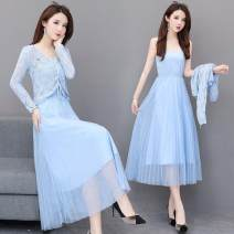 Dress Summer 2020 Apricot, blue, pink S suggests 80-95 Jin, m suggests 95-110 Jin, l suggests 110-120 Jin, XL suggests 120-130 Jin, 2XL suggests 130-145 Jin longuette Two piece set Long sleeves Sweet V-neck A-line skirt Others Cut out, lace up, mesh 30% and below other