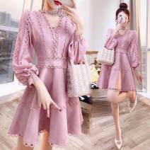 Dress Spring 2021 Pink S,M,L,XL,2XL Middle-skirt singleton  Long sleeves commute V-neck A-line skirt other Others Rohmaron Lace 30% and below Lace other