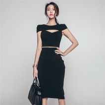 Dress Summer of 2019 black S,M,L Middle-skirt singleton  Short sleeve commute Crew neck High waist Solid color zipper One pace skirt Horn sleeve Others 25-29 years old Type X Korean version Hollow out, chain 7292Q 51% (inclusive) - 70% (inclusive) other other