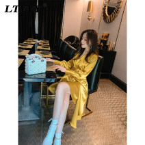 Dress Spring 2020 White black yellow S M L Mid length dress singleton  Long sleeves commute V-neck High waist Solid color zipper Irregular skirt other Others 25-29 years old Type A LTVVY court Pleated asymmetric button zipper VL19099062 More than 95% polyester fiber Polyester 100%