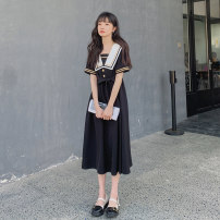 Dress Summer 2021 Ouyang Nana_ Short sleeve long skirt_ Short sleeve short skirt_ Long sleeve dress XS S M L longuette singleton  Short sleeve commute Admiral High waist Solid color Socket A-line skirt routine Others 18-24 years old Type A Shfanny / Savannah literature Splicing B2030011C other