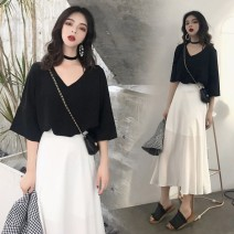 Women's large Spring 2020 Black top + French skirt [temperament goddess, single black top, single white skirt M [recommended 85-100 kg], l [recommended 100-120 kg], XL [recommended 120-135 kg], 2XL [recommended 135-150 kg], 3XL [recommended 150-165 kg], 4XL [recommended 165-180 kg] Two piece set easy
