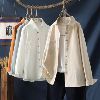 shirt Beige light grey orange white S M L XL Spring 2021 other 96% and above Long sleeves commute Regular Polo collar Single row multi button routine Solid color 30-34 years old Straight cylinder Wojow / Wuzhuang Retro XC-17 Pocket button Other 100% Pure e-commerce (online only)