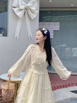 Women's large Spring 2021 Tassel cotton and hemp suit (in stock), tassel cotton and hemp suit (pre-sale) Large XL, large XXL, large XXL Dress Two piece set Sweet easy moderate Socket Long sleeves Solid color V-neck Medium length routine 18-24 years old Medium length other tassels Mori