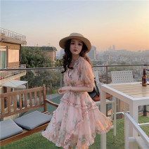 Dress Summer of 2019 Orange powder XS,S,M Middle-skirt singleton  Short sleeve Sweet V-neck High waist Decor Others 18-24 years old Type A F1013 Countryside