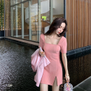 Dress Summer 2020 It's in dew pink < model version >, bud green < model version >, light coffee color < model version >, dew pink < extended version + 6cm > color XS,S,M DD1015