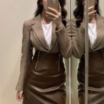 skirt Autumn of 2019 XS,S,M Black, brown Middle-skirt sexy High waist skirt Solid color Type A J1013