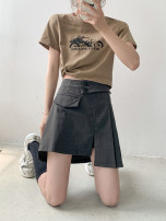 skirt Summer 2021 M,L,XL Black, dark grey Short skirt commute High waist A-line skirt Solid color Type A 18-24 years old 30% and below other Other / other Simplicity