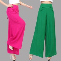 Casual pants Green, black, rose red 40. 2XL, 3XL, free freight insurance! Shopping worry free! Summer of 2019 trousers Wide leg pants High waist commute Thin money 35-39 years old 51% (inclusive) - 70% (inclusive) 886# Cotton blended fabric ethnic style Button hemp Asymmetry