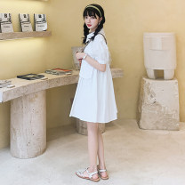 Dress Summer 2020 white S,M,L Short skirt singleton  Short sleeve Sweet V-neck Loose waist Solid color Socket Princess Dress routine Others 18-24 years old Type A #NOHASHTAG 128-6050-50 91% (inclusive) - 95% (inclusive) brocade cotton college