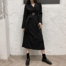 Dress Autumn 2020 black S,M,L,XL,2XL,3XL,4XL Mid length dress singleton  Long sleeves commute tailored collar High waist Solid color A-line skirt other Others Type A Retro 81% (inclusive) - 90% (inclusive) cotton