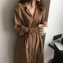 Women's large Winter 2020, autumn 2020 Dark blue, caramel Big XL, big XXL, big XXL, big L, big M, big S Dress singleton  commute easy moderate Cardigan Long sleeves Solid color Korean version Polo collar Medium length polyester Three dimensional cutting other Other / other belt Medium length