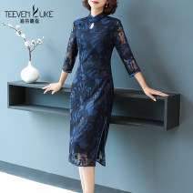 cheongsam Autumn 2020 dark blue three quarter sleeve long cheongsam literature Low slit daily Ruyi lapel Big flower Over 35 years old Stephen Lugar cotton Cotton 60% polyamide 40% Pure e-commerce (online only) 51% (inclusive) - 70% (inclusive)