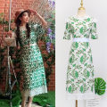 Dress Autumn of 2019 green S,XL,L,M Mid length dress singleton  elbow sleeve Sweet stand collar High waist Decor Socket A-line skirt routine Others 25-29 years old Printing, embroidery, stitching 81% (inclusive) - 90% (inclusive) Lace polyester fiber