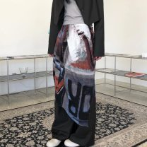 skirt Autumn 2020 Average size Picture color Mid length dress Versatile Natural waist Irregular Abstract pattern Type A 18-24 years old 71% (inclusive) - 80% (inclusive) other Other / other polyester fiber Pleated, asymmetrical, zipper, print