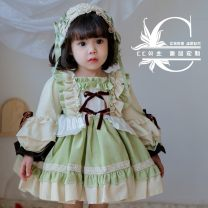 Dress female Other / other Organic cotton spring and autumn princess Long sleeves Solid color cotton A-line skirt Class B 3 months, 12 months, 6 months, 9 months, 18 months, 2 years old, 3 years old, 4 years old, 5 years old Chinese Mainland