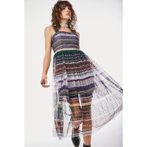 Dress Spring 2020 Black stripe S M L Mid length dress singleton  Sleeveless middle-waisted stripe Socket Pleated skirt camisole 25-29 years old Type A cut silk into pieces for writing letters printing 73202TM24001 More than 95% other polyester fiber Polyester 100%