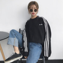 Sweater / sweater Autumn of 2018 Black, dark green, blue S,M,L,XL,2XL Long sleeves routine Socket singleton  routine Crew neck easy routine stripe 18-24 years old 91% (inclusive) - 95% (inclusive) polyester fiber Printing, splicing polyester fiber