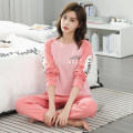 Pajamas / housewear set female Meiziju S M L XL XXL cotton Long sleeves Simplicity Leisure home autumn routine Crew neck letter trousers Socket youth 2 pieces rubber string More than 95% pure cotton printing Cotton 100% Autumn 2020 Pure e-commerce (online only)