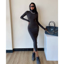 Dress Winter 2020 S, M longuette singleton  Long sleeves street High collar Solid color Socket routine Others twelve point one two 81% (inclusive) - 90% (inclusive) polyester fiber Europe and America