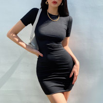 Dress Summer 2021 Black, white, iron grey, khaki, light grey S, M Short skirt singleton  Short sleeve street Crew neck Solid color Socket routine Others 18-24 years old Type X four point one two 91% (inclusive) - 95% (inclusive) cotton Europe and America