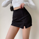skirt Summer 2021 S,M,L black Short skirt street High waist A-line skirt Solid color Type A Three point five 51% (inclusive) - 70% (inclusive) other Split Europe and America