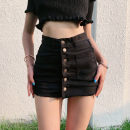 skirt Spring 2021 S,M,L Black, white, army green Short skirt street High waist A-line skirt Solid color Type A Seven point two Europe and America