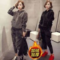 Women's large Winter 2020, autumn 2020 Thin grey, thin black, thick grey, thick black Large L, large XL, m, 2XL, 3XL, 4XL, limited quantity 49.9 yuan Two piece set commute Socket Long sleeves Solid color Korean version routine other 25-29 years old 91% (inclusive) - 95% (inclusive)