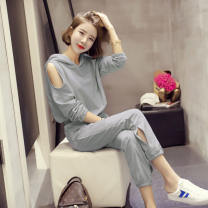 Fashion suit Autumn of 2019 S,M,L,XL,XXL Black, silver grey 18-25 years old 91% (inclusive) - 95% (inclusive) polyester fiber