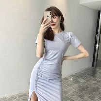 Dress Summer 2020 Gray, black S,M,L Mid length dress singleton  Short sleeve commute Crew neck middle-waisted Socket routine 25-29 years old Type X Other Korean version YGZ20004-Y 81% (inclusive) - 90% (inclusive) other cotton
