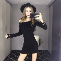 Dress Autumn of 2019 Red, black J average Short skirt singleton  Long sleeves commute One word collar High waist Solid color One pace skirt 18-24 years old Other / other Korean version