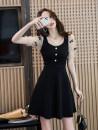 Dress Summer 2021 black S,M,L,XL,2XL Short skirt singleton  Short sleeve commute High waist Solid color zipper A-line skirt puff sleeve 18-24 years old Type A Korean version Splicing