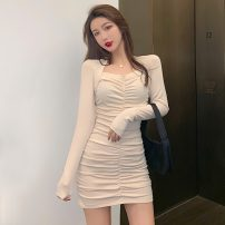 Dress Autumn 2020 Apricot, black Average size Short skirt singleton  Long sleeves commute V-neck High waist Solid color Socket One pace skirt routine Others 18-24 years old Type X Korean version fold 31% (inclusive) - 50% (inclusive) brocade polyester fiber