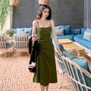 Dress Summer of 2019 Green, black S,M,L,XL,2XL Mid length dress singleton  Sleeveless commute High waist Solid color A-line skirt camisole Type A Retro Pleat, pleat