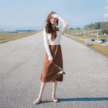 Dress Spring 2021 coffee XS,S,M,L Mid length dress singleton  Long sleeves commute Crew neck High waist Solid color Socket Pleated skirt routine Others 18-24 years old Type A Allyn tune / Arlene's Retro Lace up, stitching, zipper CY27 More than 95% knitting other
