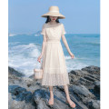 Dress Summer 2021 Apricot XS,S,M,L longuette singleton  Long sleeves commute square neck High waist Solid color zipper A-line skirt routine Hanging neck style 18-24 years old Type A Allyn tune / Arlene's Retro Embroidery, lace up More than 95% Chiffon other