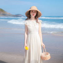 Dress Summer 2021 Apricot XS,S,M,L longuette singleton  Sleeveless commute Doll Collar High waist Solid color zipper Big swing routine Others 18-24 years old Type A Allyn tune / Arlene's Simplicity Cut out and zipper More than 95% other other