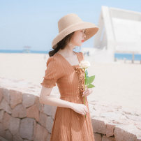 Dress Summer 2021 Tangerine XS,S,M,L longuette singleton  Short sleeve commute V-neck High waist Solid color other Big swing other Others 18-24 years old Type A Allyn tune / Arlene's Retro zipper QHD2019052361 More than 95% other other