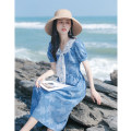 Dress Summer 2021 sky blue XS,S,M,L Mid length dress singleton  Short sleeve commute V-neck High waist Solid color zipper A-line skirt routine Others 25-29 years old Type A Allyn tune / Arlene's Retro Bowknot, stitching More than 95% other other