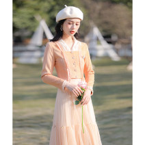Dress Spring 2021 orange XS,S,M,L Mid length dress Two piece set Long sleeves commute V-neck High waist Solid color Socket A-line skirt routine Others 25-29 years old Type A Allyn tune / Arlene's Retro Button, mesh More than 95% knitting other