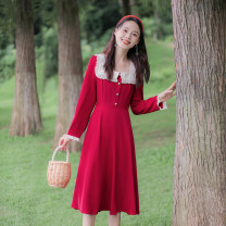 Dress Spring 2021 gules XS,S,M,L longuette singleton  Long sleeves commute square neck High waist Solid color zipper A-line skirt routine Others 25-29 years old Type A Allyn tune / Arlene's Retro Ruffle, stitching, zipper More than 95% other polyester fiber