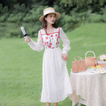 Dress Spring 2021 white XS,S,M,L longuette singleton  Long sleeves commute square neck High waist Solid color Socket Big swing routine camisole 18-24 years old Type A Allyn tune / Arlene's Retro Embroidery More than 95% Chiffon polyester fiber