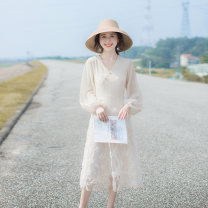 Dress Spring 2021 Apricot XS,S,M,L longuette singleton  Long sleeves commute V-neck High waist Solid color zipper Big swing other Others 18-24 years old Type A Allyn tune / Arlene's Retro Zipper, lace More than 95% other other