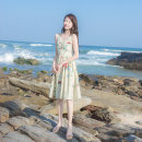 Dress Summer 2021 Picture color XS,S,M,L Mid length dress singleton  Sleeveless commute V-neck High waist Broken flowers zipper Big swing other camisole 18-24 years old Type A Allyn tune / Arlene's lady Button, print 2025-6 More than 95% other other
